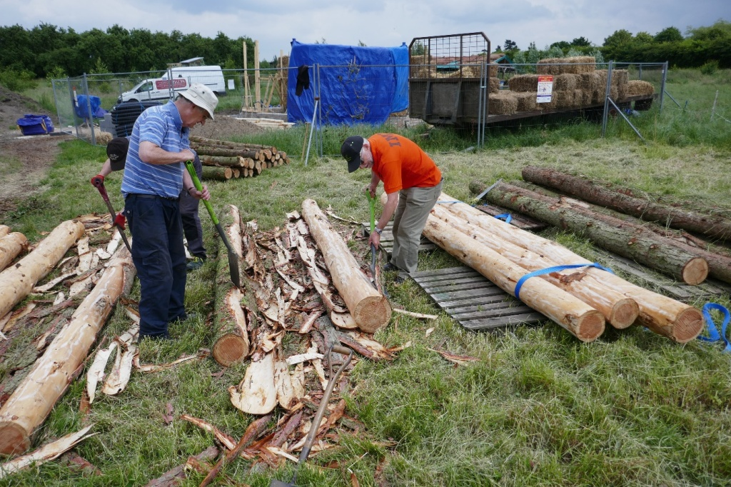 volunteers remove the bark from our larch poles