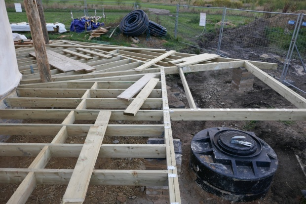 Laying the decking and stage boards